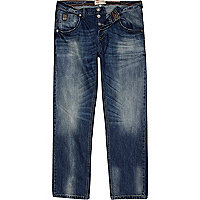 Blue mid wash denim Dean straight jeans