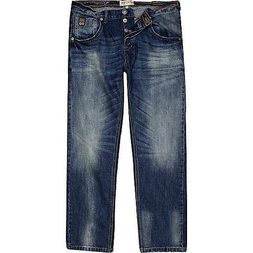 Blue mid wash denim Dean straight jeans