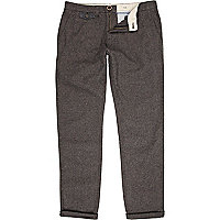 Dark grey herringbone casual trousers