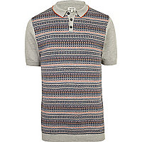 Light grey fairisle polo shirt