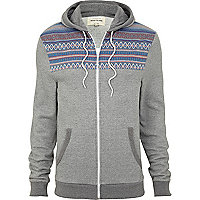 Grey jacquard chest pattern hoodie