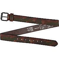 Brown camouflage print belt