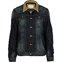 Dark denim wash contrasting collar jacket