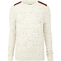 Ecru shoulder patch jumper