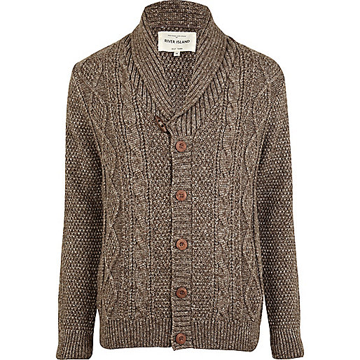 Light brown aran knit cardigan