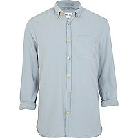 Blue rolled sleeve smart shirt