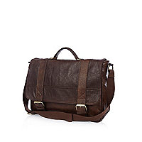 Brown contrast buckle satchel