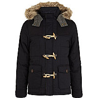 Navy padded hooded duffle jacket