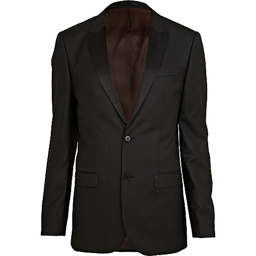Black tux slim suit jacket