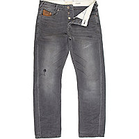 Grey washed Dean straight jeans