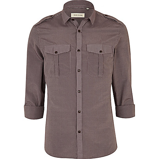 Purple mini collar military shirt