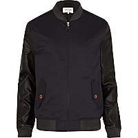 Navy leather look sleeve bomber jacket