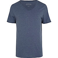 Blue marl low scoop neck t-shirt