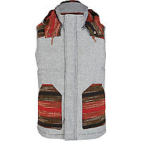 Blue and red pockets and shoulder panel gilet
