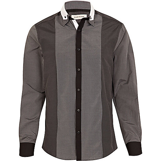 Black panel stripe double collar shirt