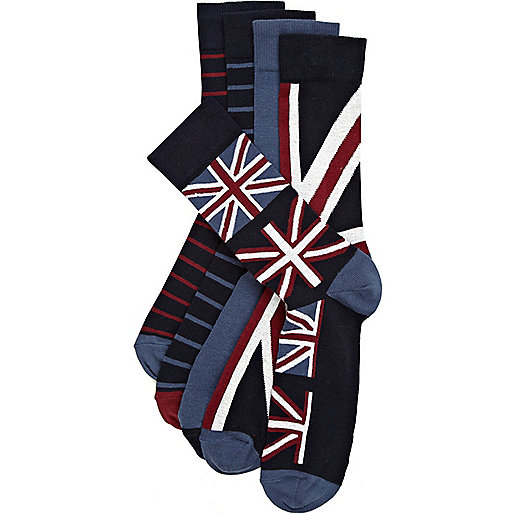 Navy union jack socks