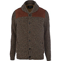 Light brown shoulder panel detail cardigan
