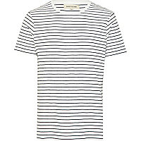 Ecru narrow stripe short sleeve t-shirt