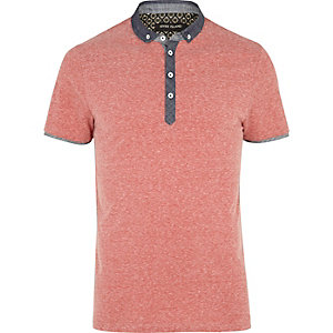 Red marl chambray collar polo shirt
