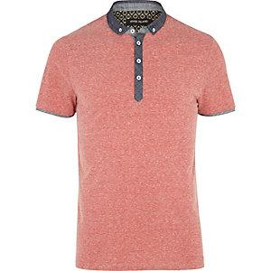 Red marl chambray collar polo shirt