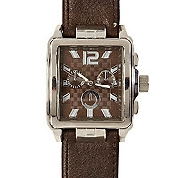 Brown checker face watch