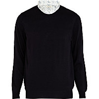 Navy 2 in 1 collar jumper