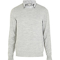 Light grey 2 in 1 double collar jumper