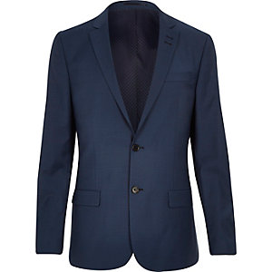 Blue wool-blend slim suit jacket