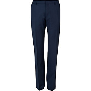 Blue wool-blend slim suit pants