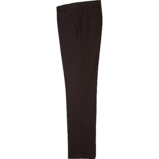 Dark berry red herringbone smart trousers