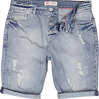 Mid blue ripped leg denim shorts