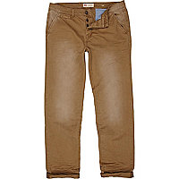 Brown distressed casual slim chinos