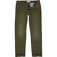 Green slim casual trousers