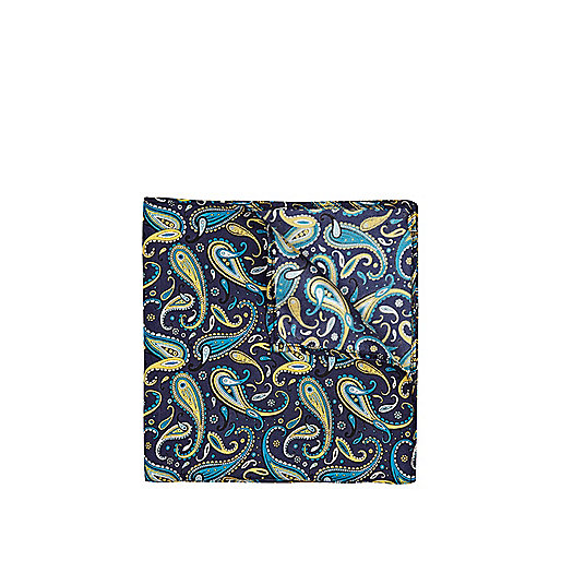 Blue paisley silk pocket handkerchief
