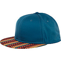 Green Aztec print flatpeak hat