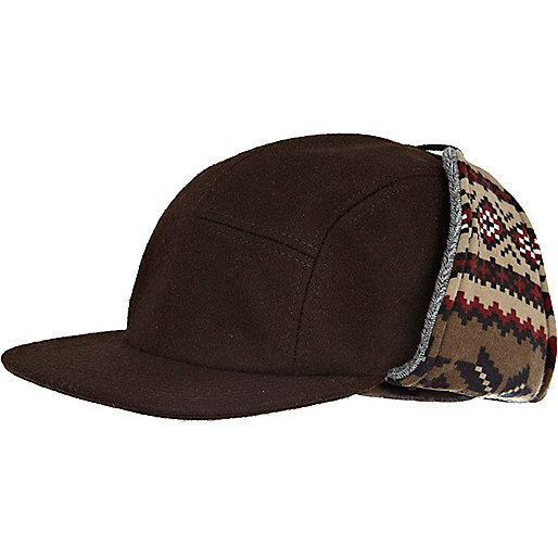 Brown fairisle print hat