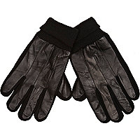Black leather and knit gloves