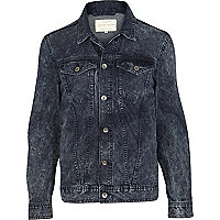 Dark blue acid wash denim jacket