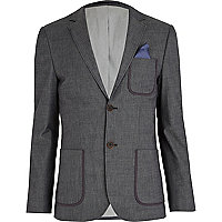Blue piped pocket blazer