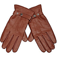Tan leather popper detail gloves