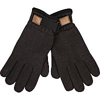 Grey insulated winter gloves