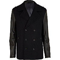 Navy leather look sleeve coat