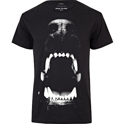 Black dog bite print t-shirt