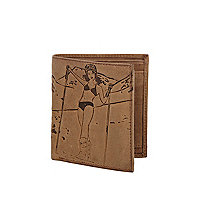 Light brown leather ski lady print wallet
