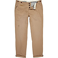 Tan button detail slim chinos