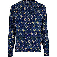 Indigo wash tile print Holloway Road sweat