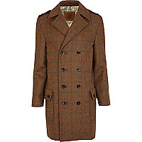 Brown Holloway Road tweed Maxwell coat