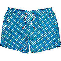 Teal polka dot swim shorts