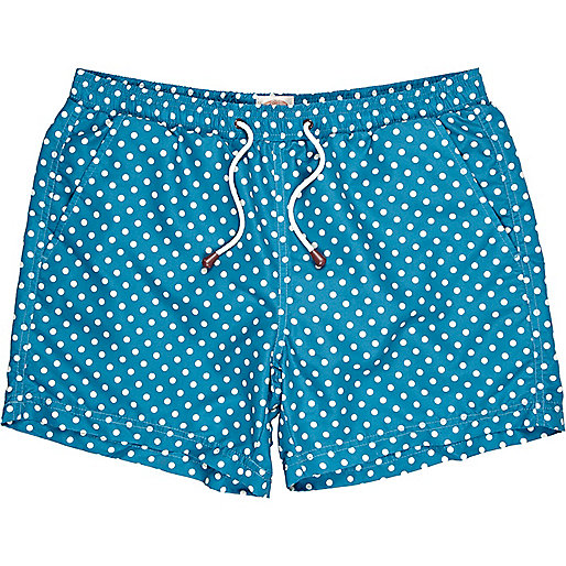 Teal polka dot short swim shorts