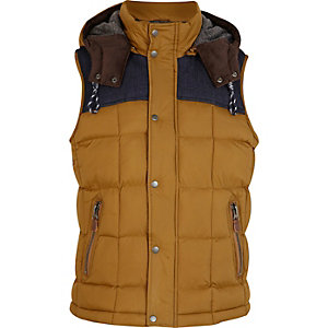 Light brown padded square gilet
